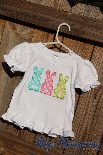 Girls Easter bunnies applique ruffle shirt with name