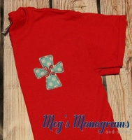 Red and Teal Raggy Cross T-Shirt