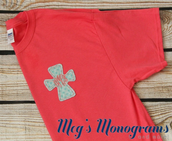 Coral and Teal Raggy Cross T-Shirt