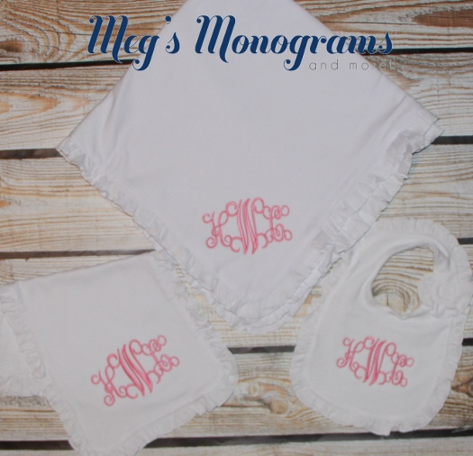 Ruffle Monogrammed Burp Cloth, Bib, and Blanket Set