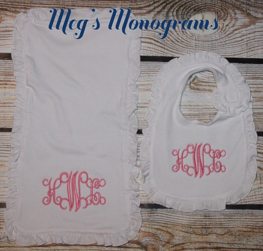 Ruffle Burp Cloth and Bib set with monogram