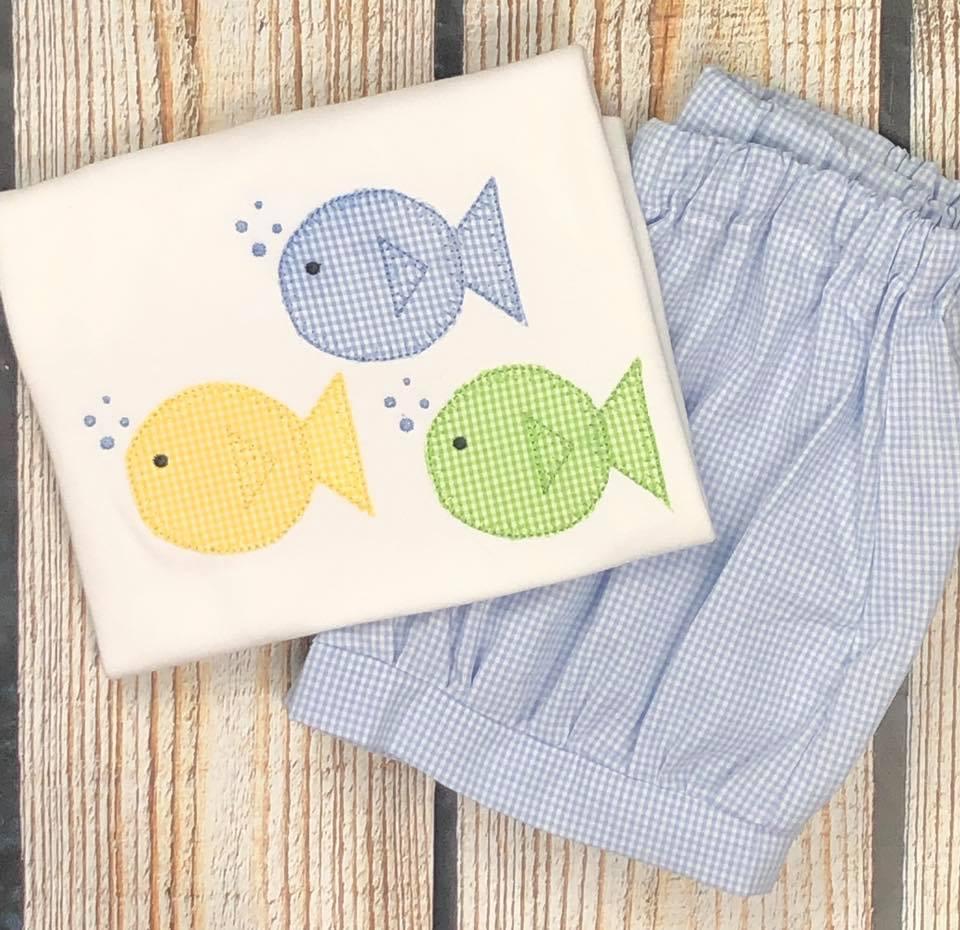 Fish Trio Applique- Blue, Green, Yellow
