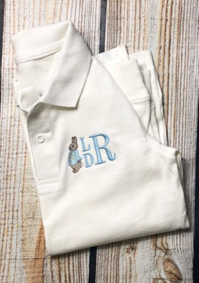 Easter Bunny Stacked Initials polo