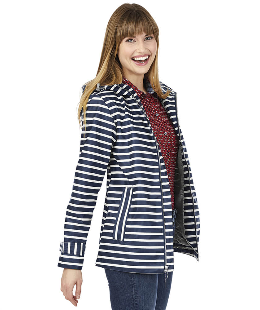 Navy Striped Charles River Rain Jacket