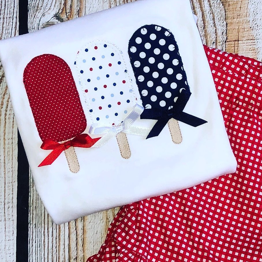Patriotic Popscicle trio with Ribbon Bows