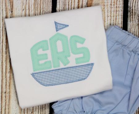 Applique Monogram Sailboat- Mint/Blue