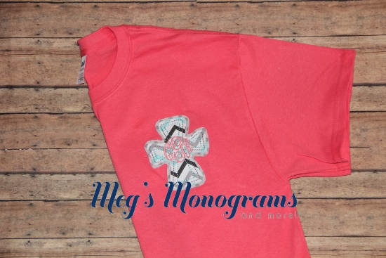 Coral with Multi Colored Chevron Raggy Cross T-Shirt