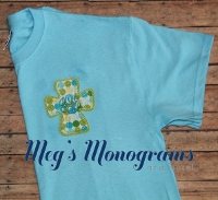Sky Blue with multi colored dots Raggy Cross T-Shirt