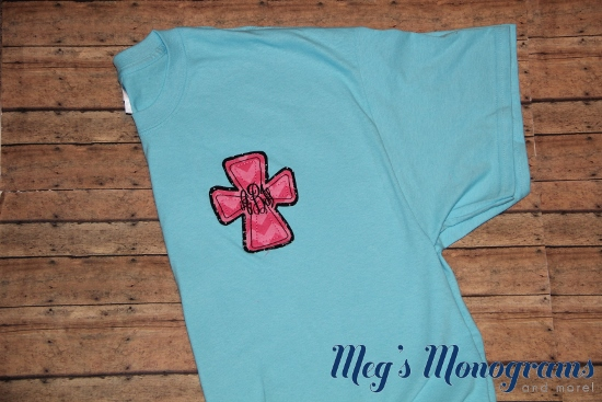Sky Blue with Pink Chevron and Black Dots Raggy Cross T-Shirt