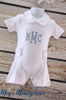Monogrammed Romper with Peter Pan Collar
