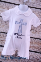 Boys Baptism/Christening Cross Romper with Peter Pan Collar