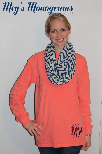 Long Sleeve Monogrammed Comfort Colors Tshirt- Bright Salmon