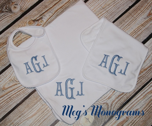 Monogrammed Blanket, Bib, and Burp Cloth set