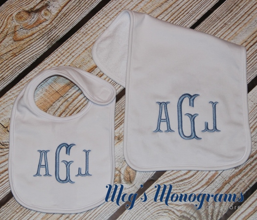 Burp Cloth and Bib set with monogram