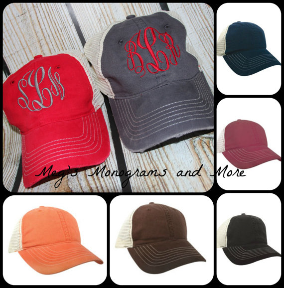 Distressed Trucker Hat. These monogrammed ... 7564c57ab09