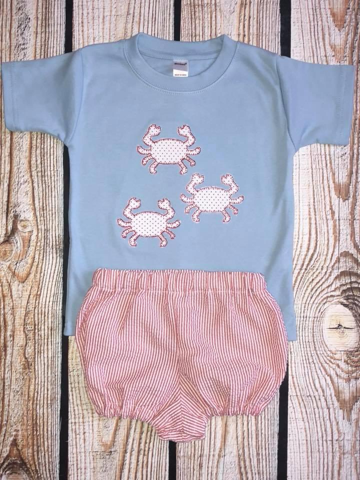 Blue shirt with crab trio